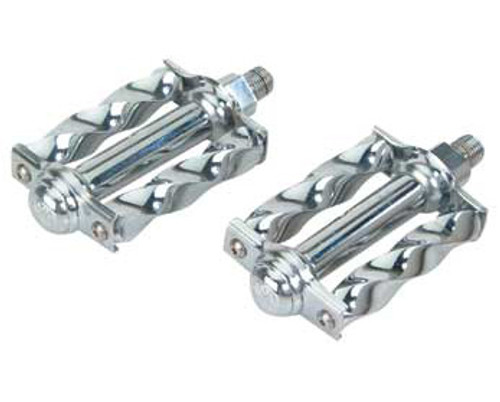 Lowrider Chrome Steel Mini Square Twisted Pedals 1/2""