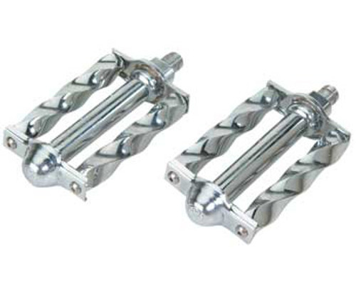 Lowrider Chrome Steel Square Twisted Pedals 1/2""
