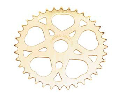 "Lowrider 20"" Gold Steel Sweet Heart Sprockets 36 Teeth 1/2 X 1/8"