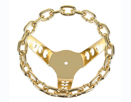 Lowrider Gold Steel Chain Steering Wheels