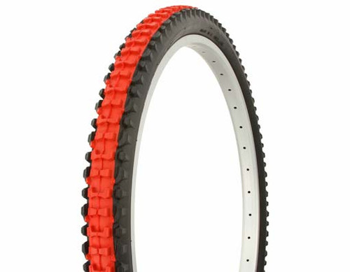 "Cruiser 26"" Black Rubber Duro Red Center HF-107.  Tires 26"" x 2.10"""