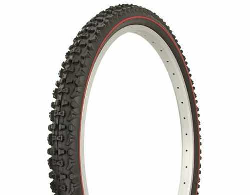 "Cruiser 26"" Black Rubber Duro Red Side Line HF-107A.  Tires 26"" x 2.10"""