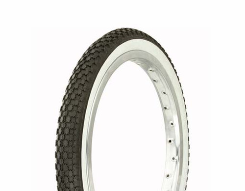 "Lowrider 16"" Black Rubber Duro White Wall HF-146.  White Wall Tires 16"" x 1.75"""