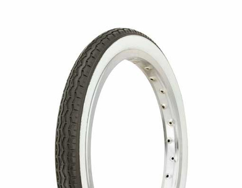 "Lowrider 16"" Black Rubber Duro White Wall HF-160A. White Wall Tires 16"" x 1.75"""