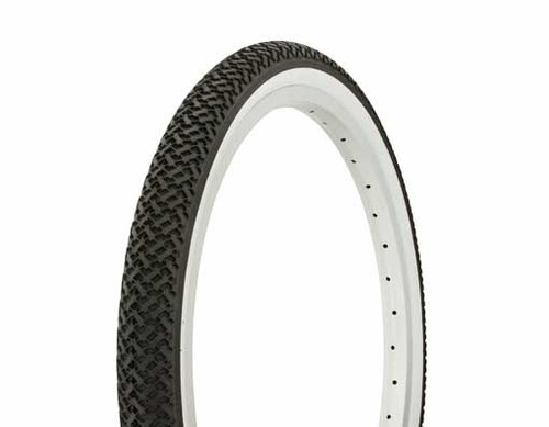 "Lowrider 20"" Black Rubber Duro White Wall DB-7033.  White Wall Tires 20"" x 1.75"""