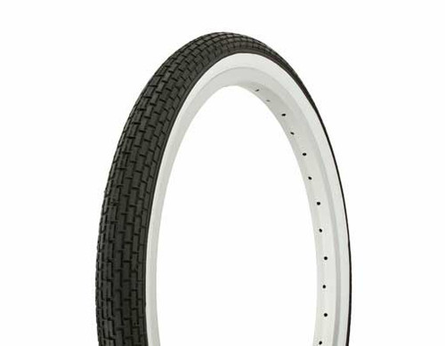 "Lowrider 20"" Black Rubber Duro White Wall HF-120A.  White Wall Tires 20"" x 1.75"""