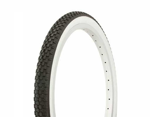 "Lowrider 20"" Black Rubber Duro White Wall HF-146. White Wall Tires 20"" x 1.75"""