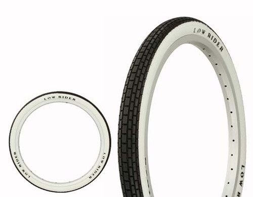 "Lowrider 20"" Black Rubber Duro With Lowrider Raised Letter HF-120A. White Wall Tires 20"" x 1.75"""