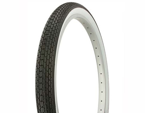 "Cruiser 26"" Black Rubber Duro White Wall HF-120A. White Wall Tires 26"" x 2.125"""