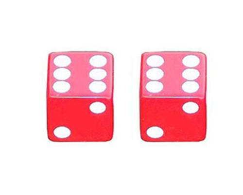 Lowrider Red Plastic Dice Valve Caps