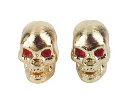 Chopper Gold Plastic Skull Valve Caps