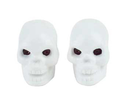 Chopper White Plastic Skull Valve Caps