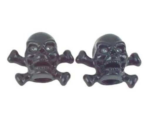 Chopper Black Plastic Skull & Bones Valve Caps