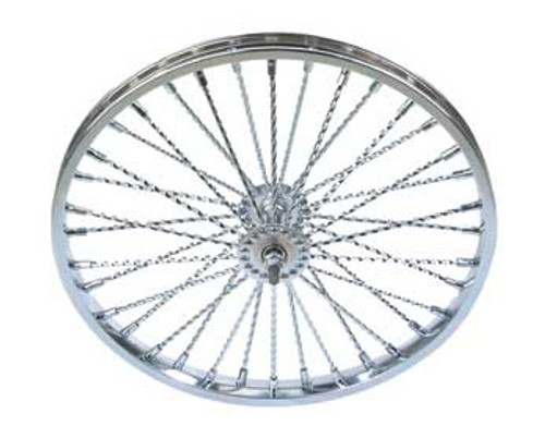 "Lowrider 20"" Chrome Steel 36 Twisted Spoke Front Wheels 20"" x 2.125"""