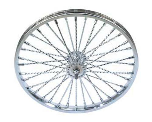 "Lowrider 26"" Chrome Steel 36 Twisted Spoke Front  Wheels 26"" x 2.125"""