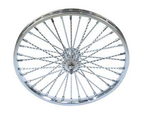 "Lowrider 26"" Chrome Steel 36 Twisted Spoke Coaster Wheels 26"" x 2.125"""