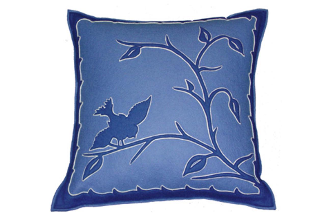 Sandor Applique Hollóháza Bird Pillow Delft Blue On Blue W White Accent Greenergrassdesign