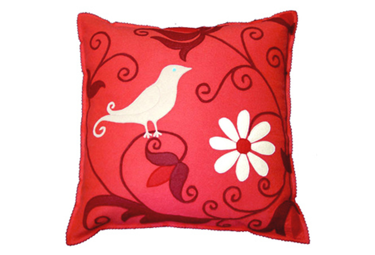 Sandor Applique Curly Bird Pillow Cranberry Red Shell White On Coral Greenergrassdesign