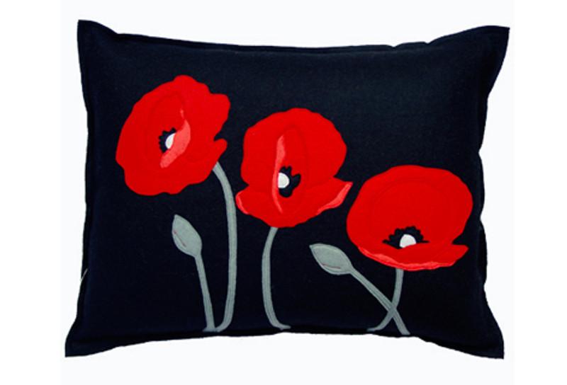 Sandor applique poppy trio pillow red on black greenergrassdesign