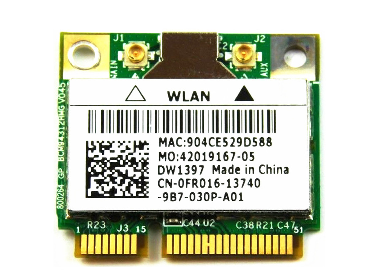 Dell True Mobile 1397 802.11 b/g Wireless WiFi Card - Half-Height Mini-PCI Express Card - FR016