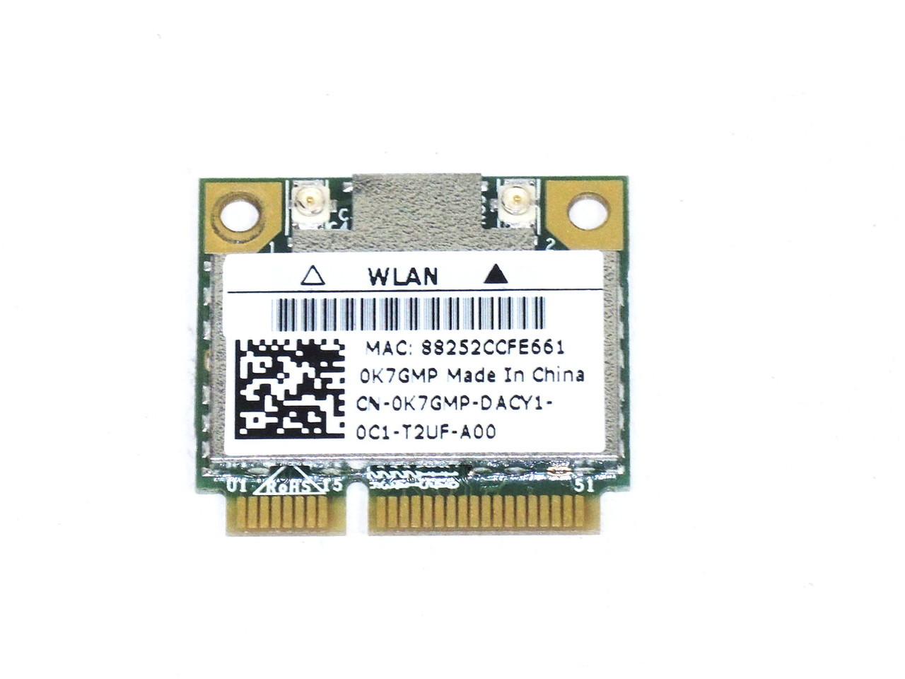 Dell Inspiron 1018 Realtek 8188CE Wireless WLAN WiFi 802.11 a/b/g/n Half-Height Mini-PCI Express Card - K7GMP