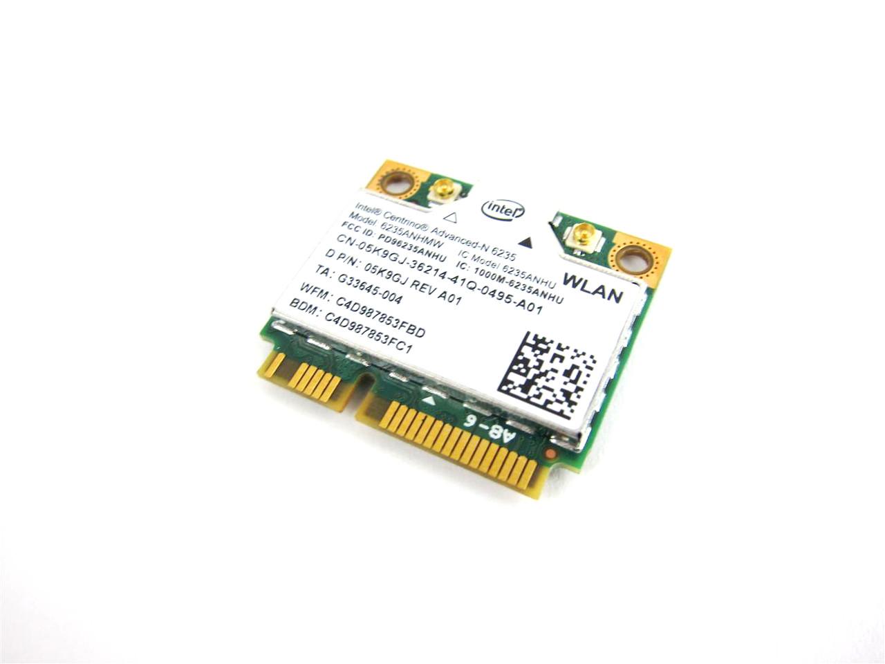 Dell Intel Centrino Advanced-N 6235 Wireless WiFi 802.11 a/g/n / BlueTooth Half-Height Mini-PCI Express Card - 5K9GJ