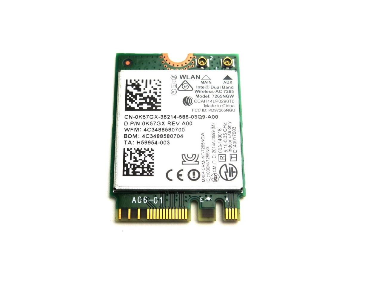 Dell Intel Wireless-AC 7265 Dual Band WLAN WiFi 802.11 ac/a/b/g/n + Bluetooth 4.0 M.2 Card - K57GX