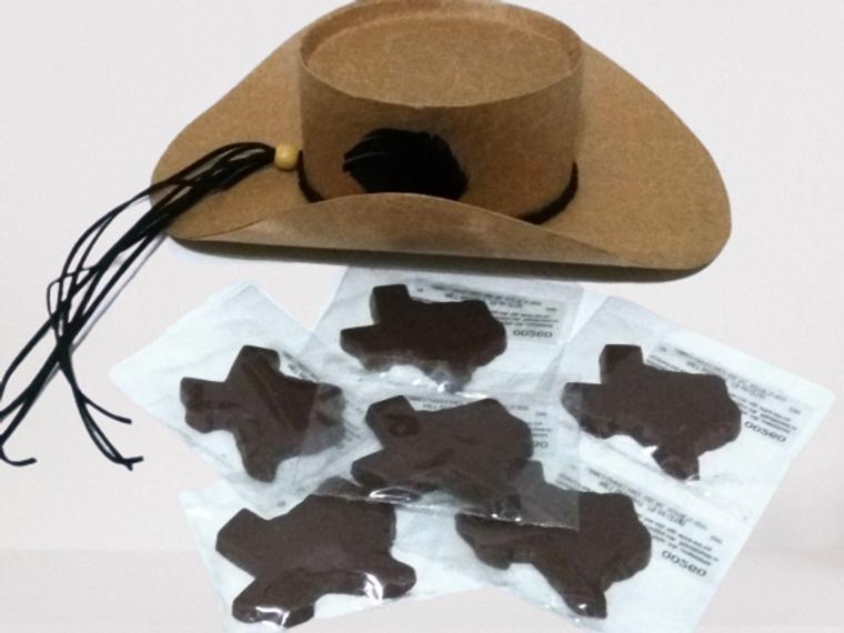 Texas Cowboy Treats Gift Box with Texas-shaped chocolates