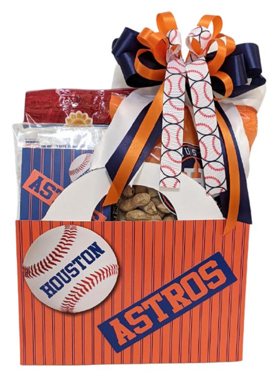 Baseball Orange Snack Gift Box with Bow