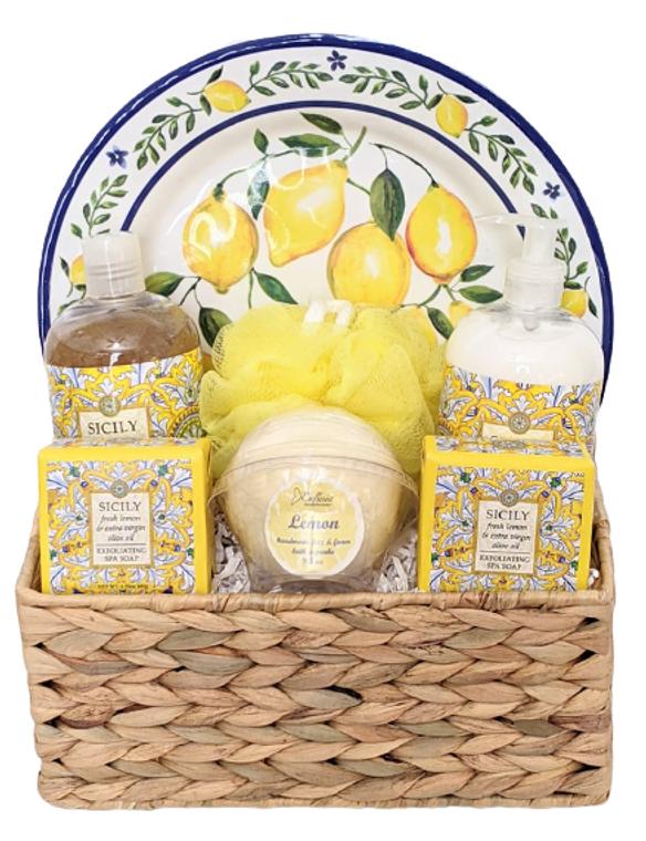 Sicily Lemon Seagrass Spa Gift Basket