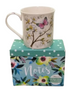 Blue Floral Boxed Notecards with Butterfly Mug