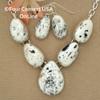 5 Stone White Buffalo Turquoise Necklace Earring Jewelry Set Navajo Lyle Piaso NAN-1433 Four Corners USA OnLine Native American Jewelry