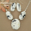 Large 3 Stone White Buffalo Turquoise Necklace Earring Jewelry Set Navajo Lyle Piaso NAN-1434 Four Corners USA OnLine Native American Jewelry