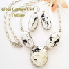On Sale Large 3 Stone White Buffalo Turquoise Necklace Earring Jewelry Set Navajo Lyle Piaso NAN-1434 Four Corners USA OnLine Native American Jewelry