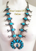 Morenci Turquoise Squash Blossom Necklace Navajo Donovan Cadman NAN-1436 On Sale at Four Corners USA OnLine Authentic Native American Jewelry