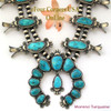 Morenci Turquoise Squash Blossom Necklace On Sale Navajo Artisan Donovan Cadman NAN-1435 Four Corners USA OnLine Authentic Native American Jewelry