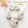 3 Stone White Buffalo Turquoise Necklace Earring Jewelry Set Navajo Lyle Piaso On Sale at Four Corners USA OnLine Contemporary Native American Jewelry NAN-1441