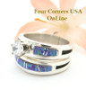 Engagement Bridal Wedding Ring Set Size 6 1/2 Purple Fire Opal Wilbert Muskett Jr. Four Corners USA OnLine Native American Silver Jewelry WS-1695