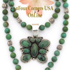 Green Turquoise Butterfly Pendant 21 Inch Turquoise Bead Necklace NAP-09473BDS Four Corners USA OnLine Native American Navajo Silversmith GJ