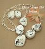 Large 5 Stone White Buffalo Turquoise Necklace Earring Jewelry Set Navajo Lyle Piaso NAN-1432 Four Corners USA OnLine Native American Jewelry