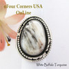 Size 6 1/2 White Buffalo Turquoise Ring Navajo Bobby Becenti NAR-1900 Four Corners USA OnLine Native American Silver Jewelry