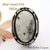 Size 9 1/2 White Buffalo Turquoise Ring Navajo Bobby Becenti NAR-1906 Four Corners USA OnLine Native American Silver Jewelry
