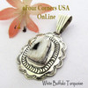 White Buffalo Turquoise Pendant Navajo Bobby Becenti NAP-1776 Four Corners USA OnLine Native American Silver Jewelry