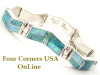 Turquoise Fire Opal Link Bracelet Kenneth Bitsie Contemporary Inlay Artisan Native American Jewelry Four Corners USA OnLine