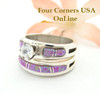 Engagement Bridal Wedding Ring Set Size 7 1/4 Pink Fire Opal Wilbert Musket Jr Four Corners USA Online Native American Silver Jewelry WS-1464