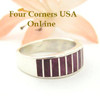 Purple Spiny Oyster Inlay Band Ring Size 6 1/2 Native American Ella Cowboy Silver Jewelry WB-1495