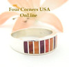 Size 6 1/2 Multi Color Spiny Oyster Shell Inlay Band Ring Navajo Ella Cowboy Silver Jewelry WSB-1505 Four Corners USA OnLine Native American Jewelry