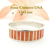 Orange Spiny Oyster Inlay Band Ring Size 10 3/4 Native American Ella Cowboy Silver Jewelry WB-1510