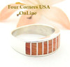 Orange Spiny Oyster Inlay Band Ring Size 7 Native American Ella Cowboy Silver Jewelry WB-1518