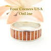 Orange Spiny Oyster Inlay Band Ring Size 6 1/2 Native American Ella Cowboy Silver Jewelry WB-1519
